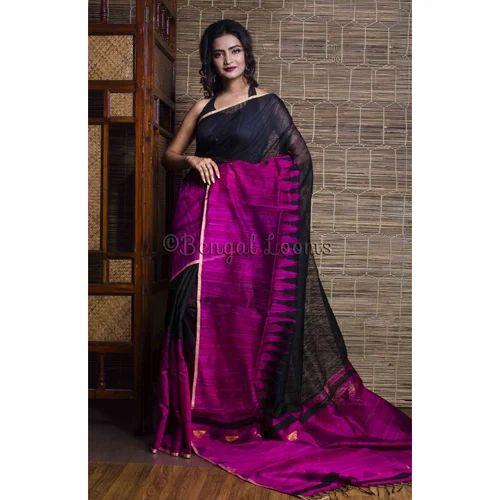 7d87d51b02 Pure Handloom Khadi Tussar Silk Saree in Black and Magenta ...