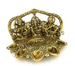 Gold Plated Laxmi Ganesh Saraswati Deepak