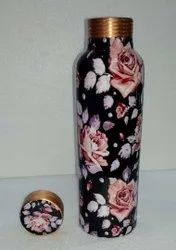 Rose Black Meena Print Copper Bottle