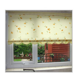 Yellow Polyester Mechanism Floral Printed Roller Blind