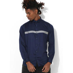 Mens Navy Blue Club Wear Shirt