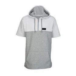 Plain Cotton/Linen Mens Hooded T-Shirt