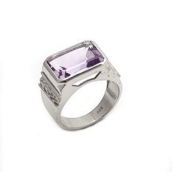 Natural Amethyst 92.5 Sterling Silver Wedding Suitable Modern Stylish Mens Ring