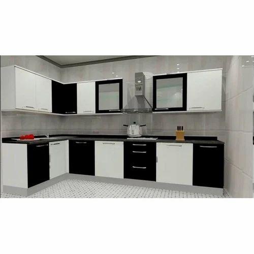 Wooden L Shaped Modular Kitchen