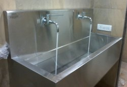 CMP Metal Steel 2-Bay Wall Mounted Scrub Sink Station