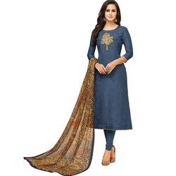 Rajnandini Blue Chanderi Silk Embroidered Semi-Stitched Dress Material With Printed Dupatta