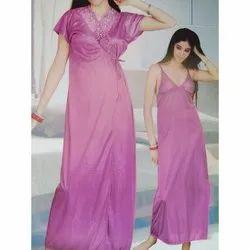 0e93246afe Satin Long Womens Pink V-Neck Nighty Set, Size: Free Size