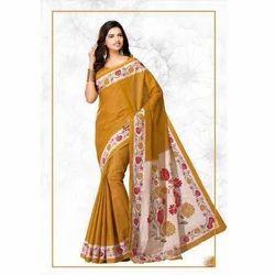 Mustard Cotton Ladies Designer Indian Saree, 5.50 m