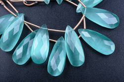 Blue Green Apatite Cats Eye Pear Beads