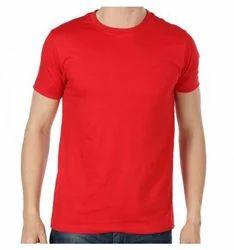 Cotton, Polyester Plain Round Neck T-Shirt For Men