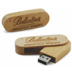Wooden Swivel Pen Drive