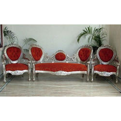 Red and Silver Color 5 Seater Wooden Sofa Set