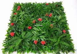 Artificial Grass Wall With Red Flowers
