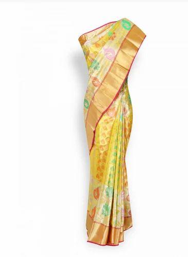 02eb492781 Wedding Wear Multi Colour With Gold Border Pure Kanchipuram Silk Saree,  With Blouse Piece