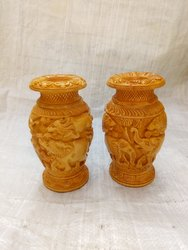 Hadmed Carved Wooden Flower Vase, For Party Supplies, Size: 6 Inch