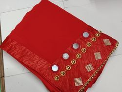 Georette Mirror And Hand Work Borderd Pattern Blood Red Colour Saree