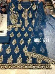 Semi-Stitched AWC Zari Work Party Wear Suit