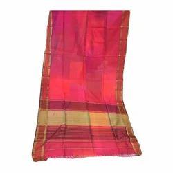 Maheshwari Silk Magenta Handloom Saree, Length: 5 - 6 m