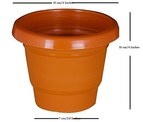 Brown Circular 4 Inch Colored Plastic Small Nursery Pots Size 10cmx10cmx7cm