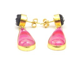 Agate and Black Druzy  Gemstone Stud Earring with Gold Plated