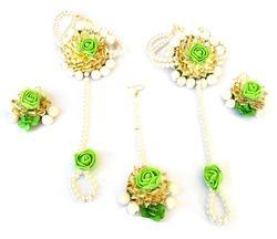Pearl Green Flower Gota Patti Maang Tika Earring