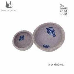 Handmade paper mache light mauve bowls, blue spring leaf decal print (set of 2)