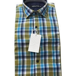 Men Cotton Twill Check Shirt, Size: Medium Also Available In Small, Large, XL