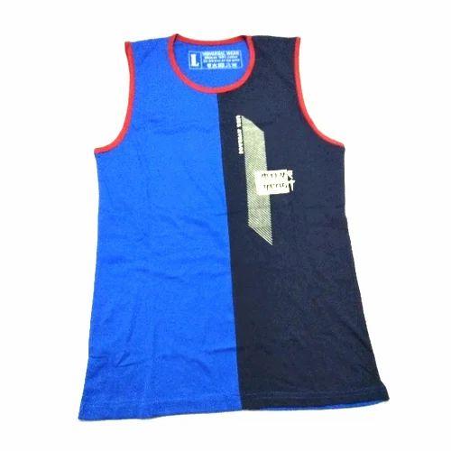 Blue & Navy Blue Hosiery Kids Plain Vest
