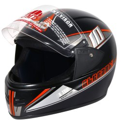 Full Face Helmet Jmd Elegant Premium Decor D2 Matt Black-Orange, For Motor Bike Two Wheeler Helmet