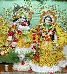 White And Golden Radha Krishna Marble Statue
