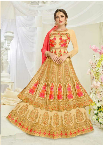 New Arrivals And Party Wear Dresses Golden And Red Shahbeez Floor Length Anarkali Suit