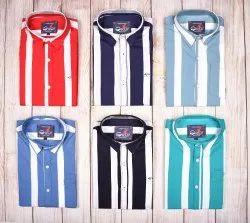 Cotton Indian Fit DJ Men Stripes Shirt, Wash Care: Machine Wash