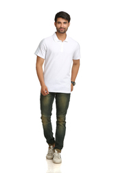 Adidas Men''s White Polo T-Shirt
