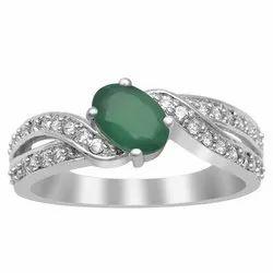 925 Sterling Silver 7x5 Mm Oval Cut Green Onyx Gemstone Twist Shank Ring