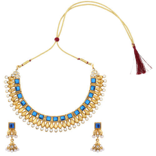 a146230384 Dancing Girl Blue Kundan Bridal South Indian Jewellery Alloy Necklace Set