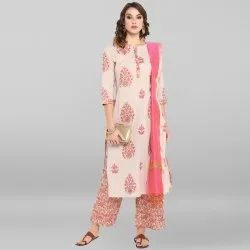 Multicolor Pure Cotton Kurta With Palazzo And Dupatta