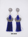 Blue Silk Tread Earring