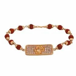Gold Plated Om Design Rudraksha Rhodium Wheat Cutt Golden Cap Bracelet