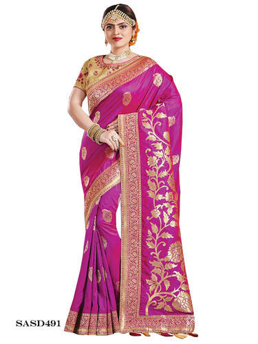 41b4e5e2b87d50 Silk Purple Party Wear Saree With Blouse Piece