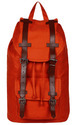 Jumbo Rust Canvas Backpack With Leather Trims