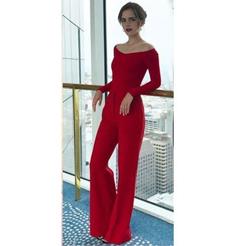 4a752d96fc0f Ladies Full Sleeves Red Plain Jumpsuit