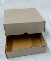 Square Brown Corrugate Top Button Box 6x6x2 3 Ply Under Lamination for Electronics