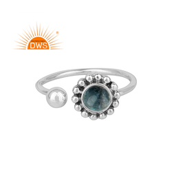 Apatite Gemstone Flower Design Oxidized Sterling Silver Rings Wholesale