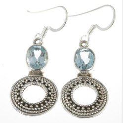 Cut Stone Silver Earrings