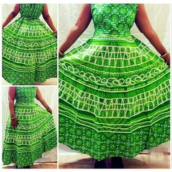 Printed Green Base Ladies Sleeveless Long Dress