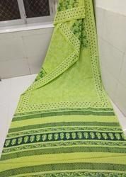 Green Bagru Hand Block Printed Saree