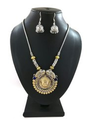 Artificial Silver Necklace With Earrings