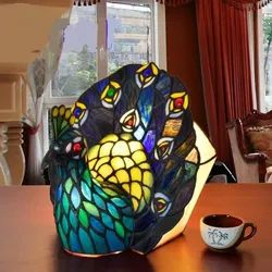 Peacock Bird''s Nest Styled Stained Glass Table Lamp