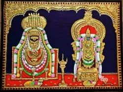 Lord Annamalayan with Unamalay Amman Tanjore Painting
