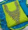 Ladies Chanderi Suit With Khatli Work